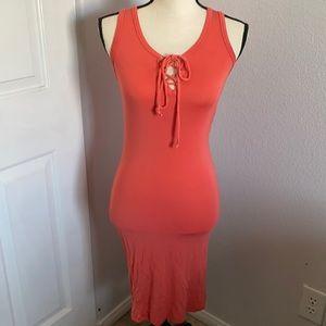 teenbell coral midi dress
